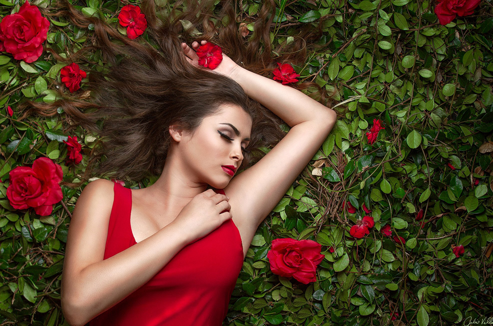 Bed of roses portrait